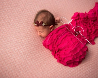 SALE Ready to ship, newborn photography prop, layering, long hot pink fuscia ruffle stretch wrap, baby girl photo prop,valentine wrap