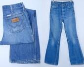 Vintage Wrangler Jeans Indigo Blue Denim Boot Classic Western Cut Blue Jeans 31 x 33