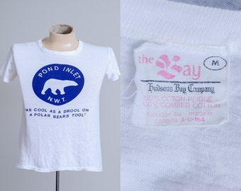 1960s Hudsons Bay Pond Inlet As Cool As the Drool On a Polar Bears Tool N.W.T. Canada White Cotton T Shirt