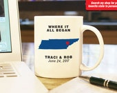 """Tennessee Coffee Mug Cup """"Where It All Began"""" Wedding Anniversary Valentine Gift Present w/ Custom Color State Date 11 oz White Ceramic"""