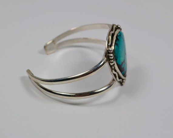 Sterling Silver and Turquoise Cuff Bracelet - Natural Turquoise - Recycled Sterling Silver - Boho Bracelet