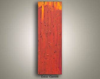 Large Abstract Painting on Canvas - Orange and Red Abstract Art - 12x36 - Orange Abstract Original Textured Painting - Orange Canvas Art