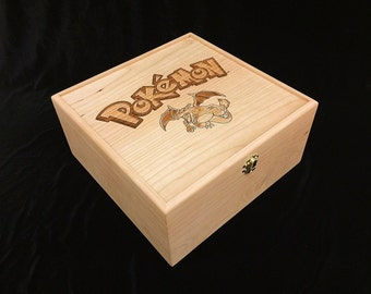 Pokemon Engraved Trading Card Deck Box with Hinges & Latches-10 3/4 x 10 5/8 x 5