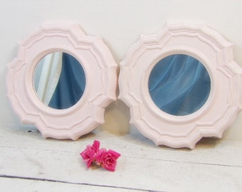 Set of Vintage Mirrors French Country Shabby Farmhouse Mirror Set Light Nursery Pink