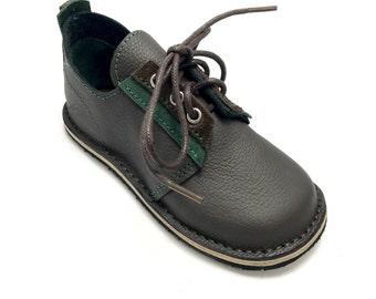 Handmade dark brown leather boys shoes.  Children's school shoes.  Leather kids shoes.