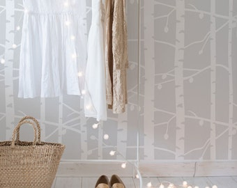 Endless Birch Tree Forest Stencil from The Stencil Studio. Reusable home decor & DIY, wallpaper stencils, simple to use.