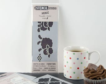 Sheep Nursery Furniture & Craft Stencil - Stencil MiNiS from The Stencil Studio. Handy little reusable stencils for home decor and crafts.