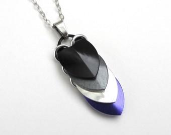 Ace pride pendant necklace, chainmail scale pendant, asexual pride jewelry, black gray white purple