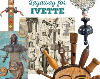 Layaway for Ivette only....folk art mermaid, conversation piece, sunrise, chef, queen of hearts, assemblage art by Elizabeth Rosen