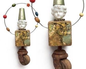 Juggling Clown assemblage,  mixed media wall, art doll, original altered art doll head ornamentornament by Elizabeth Rosen