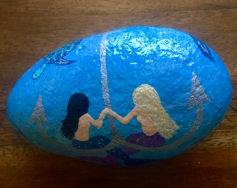 Hand Painted River Rock 2 Side Painted Mermaids and Sea Turtles Paperweight Door Stop Home Garden