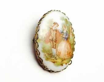 Vintage Fragonard Brooch, Victorian Courting Couple, Painted Porcelain, Signed, Gold Tone, Item No. B317