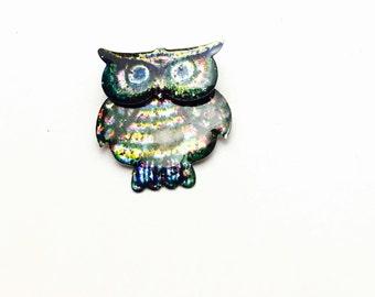 Vintage oWL Brooch, Enamel, Glittering, Silver Tone, Animal Figural, Clearance SALE, Item No. B440
