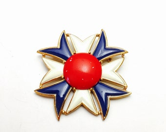 Large Art Deco Brooch, Red White and Blue Enamel,  Clearance Sale, Item No. B731