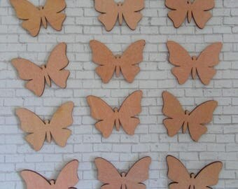 Wooden Craft Cut Outs  Unfinished Shapes for Crafting 12 Pieces Wooden Butterfly Butterflies