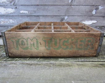 Vintage Wood Crate Tom Tucker Cola Beverages Delivery Box Green Delivery Box Shabby Very Rustic AGED Distressed Industrial vtg Storage