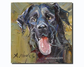 Originals oil Painting Black Dog on canvas panel Impressionism Animal Art 6x6""