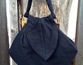 Vintage 1940s Unique Art Deco Black Wool Felt Purse Evening Bag Rockabilly VLV Bobbie Jerome