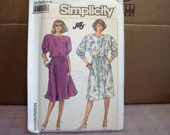 Womens pattern--dress with dolman sleeves and elastic waist  Simplicity 7884, 1980's style uncut pattern