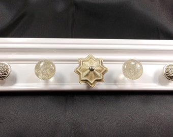 WHITE Jewelry Holder, Wall Jewelry Holder, READY To SHIP Jewellry Holder with Swirled Glass, Pewter, Goldish Knobs, Jewelry Gift Under 40