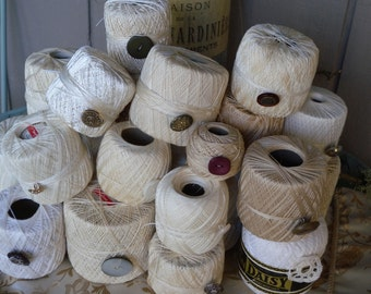 Twenty One Vintage Crochet Lace Spools in Shades of White and Beiges ~ Wrapped neatly and finished off with Vintage Buttons