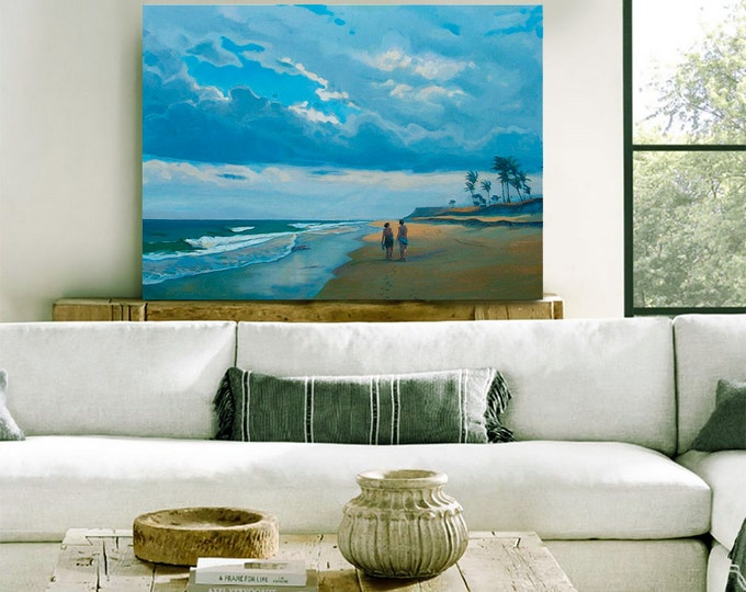 "Beach Decor Original Oil Painting ""Along the beach"" by B. Kravchenko. FREE SHIP"