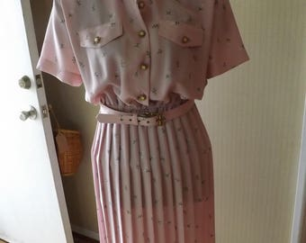 Leslie Fay Pink Floral Pleated Dress Size 10 Free Shipping