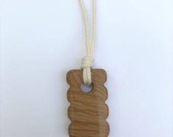 CLEARANCE - Mama Necklace / Nursing Necklace - Wood Grain Jasper Gemstone on black Cotton Cord (Adjustable)