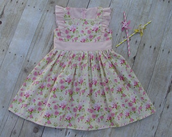Girl Floral Ruffle Dress Pink Yellow Zip Up Back Sizes 2-8