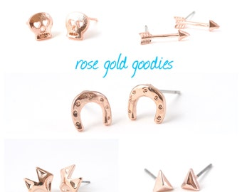 FOXY >> rose gold cute as all get out fox studs << proceeds donated to Humane Society