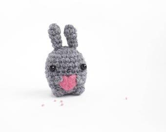 amigurumi bunny plush - grey crochet bunny toy with heart