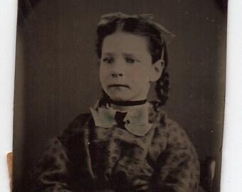 Small Tintype Photograph Civil War Era Girl Antique Photo Of A Child Victorian Childhood Melainotype Ferrotype Childrens Memorabilia