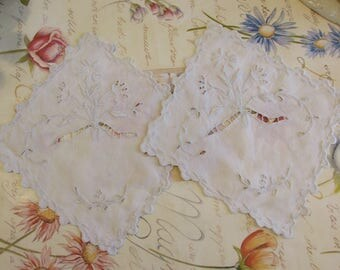 Antique French PAIR of superb hand embroidered place/table  mats, doilies. Country cottage chic.
