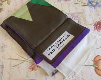 Beautiful vintage French designer pure silk long scarf, 'Arelquin Ted Lapidus, Paris.  Paris chic....