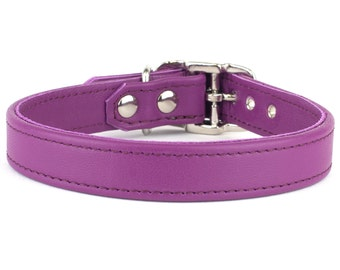 Orchid Leather Dog Collar - Handmade in the UK