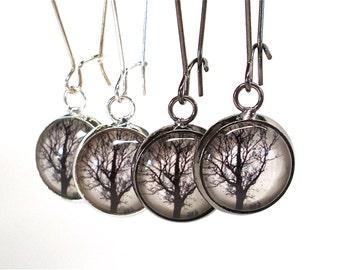 Dawn Tree Earrings in Gunmetal Black or Silver - Dangle Earrings