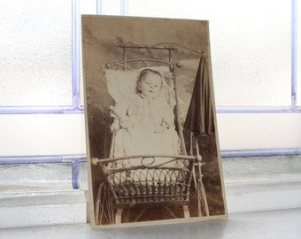 Victorian Child In Crib Cabinet Card Photograph Antique 1800s