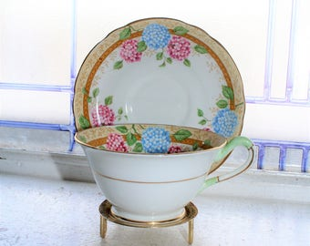 Vintage Teacup and Saucer Copelands Grosvenor Hydrangea 1930s