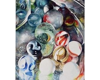 Watercolor ORIGINAL - Shiny Things Three - glass, silver, marbles, jar, shine, colors