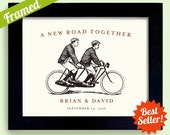 Gay Wedding Gift Framed Personalized Wedding Gift Tandem Bicycle for Two Engagement Gift For Gay Couples Bicycle for Two