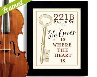 Sherlock Holmes Gift Framed Artwork BBC 221B Baker Street Wall Art Dr Watson Holmes is Where The Heart Is Detective Drama London England
