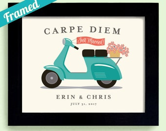 Carpe Diem Motor Scooter Seize the Day Italian Wedding Framed Wedding Gift for Couples Italy Honeymoon Bicycle for Two Destination Wedding