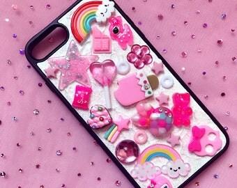 Pink Rainbow Kawaii Decoden OOAK iPhone 7plus Phone case