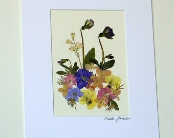 PRESSED FLOWER ART - Colorful Pressed Flowers Garden Bouquet, Matted and Ready to Frame Art Picture, Home Decor, Blue, Yellow, Pink