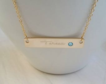 Personalized Gold Nameplate Necklace Birthstone Bar Necklace - Bridesmaid Jewelry