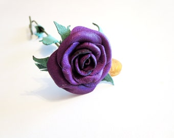For Courtney Claypool 3rd anniversary gift, mini purple leather rose,miniature Leather Rose,red leather rose , mini Long Stem red rose