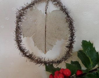 Antique Tinsel Ornament -- Tinsel With Parchment Leaf -- Circa 1900