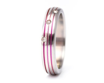 Women's polished titanium ring with pink anodized stripes with Swarovski's crystals. Engagement ring. (00017_4S)