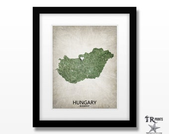 Hungary Map Art Print - Home Is Where The Heart Is Love Map - Original Custom Map Art Print Available in Multiple Size and Color Options