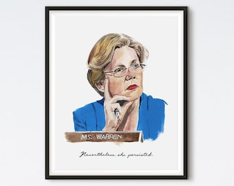 Elizabeth Warren - Nevertheless She Persisted - Elizabeth Warren Portrait - Feminist Art - Political Art - Democratic Art - Gouache Portrait